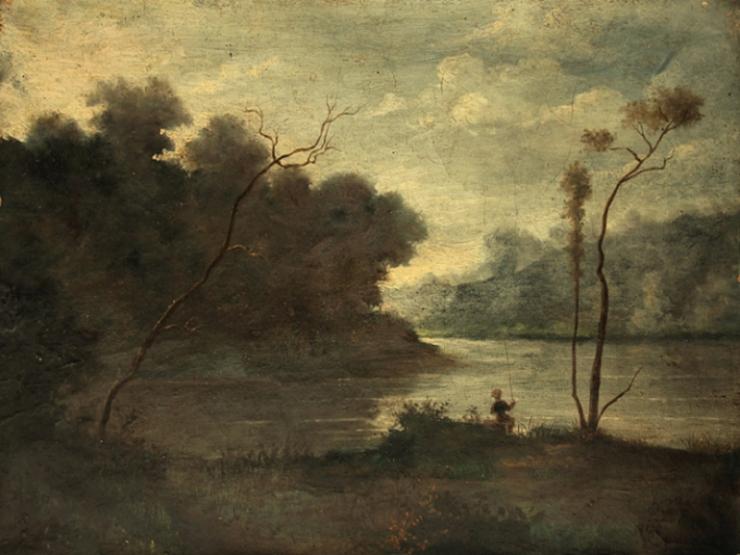 Corot, Paysage de lac , Montefontaine