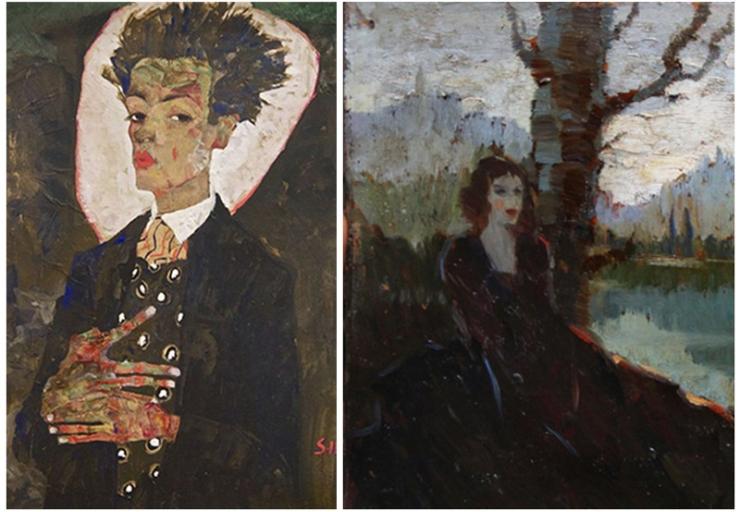 Egon Schiele, Self-portrait - Ritratto di donna sul Danubio