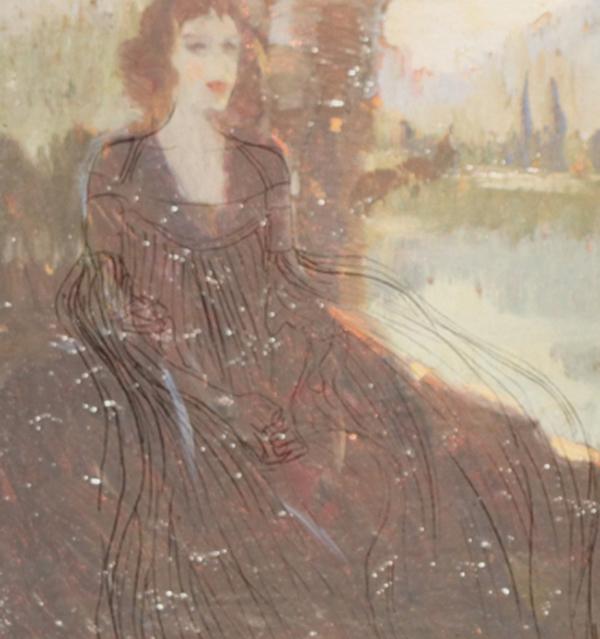Egon Schiele - Gustav Klimt, Studio speculare, sovrapposizione figura - disegno