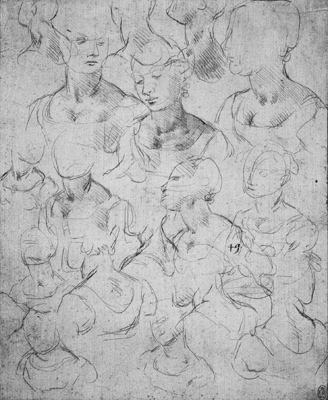 Leonardo da Vinci sketches of the bust of a woman original drawing-metalpoint