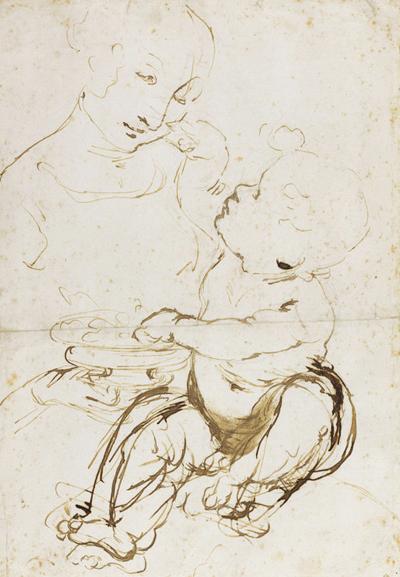 Vinci Leonardo da, Vierge à l'Enfant, dite 'Vierge aux fruits' - Abbozzo