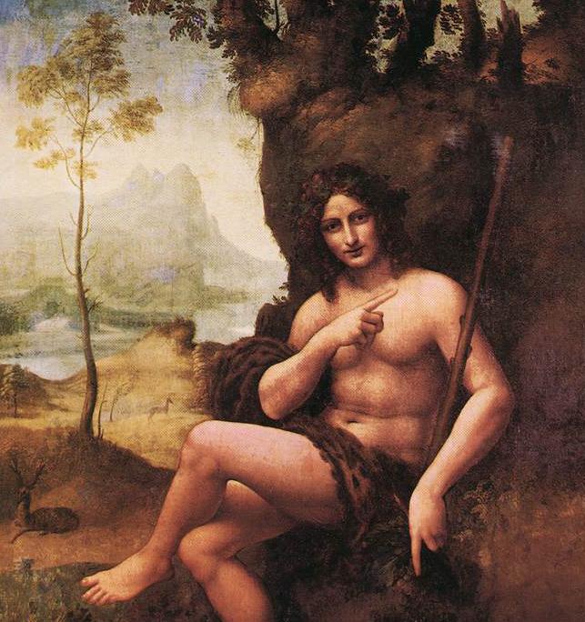 Leonardo da Vinci e Bottega - Il Bacco su un precedente san Giovanni Battista