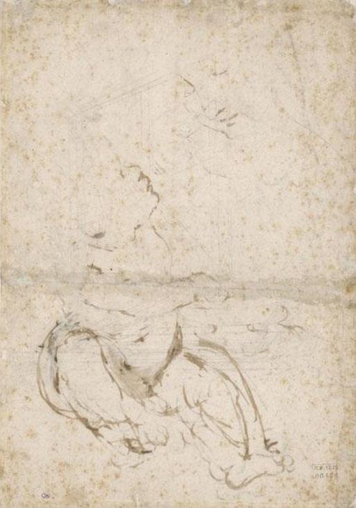 Leonard de Vinci - Etude de construction architecturale pour une voûte