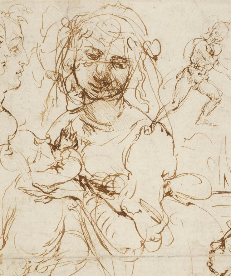 Leonardo da Vinci, detail,The Madonna and Child with the infant Baptist, and heads in profile