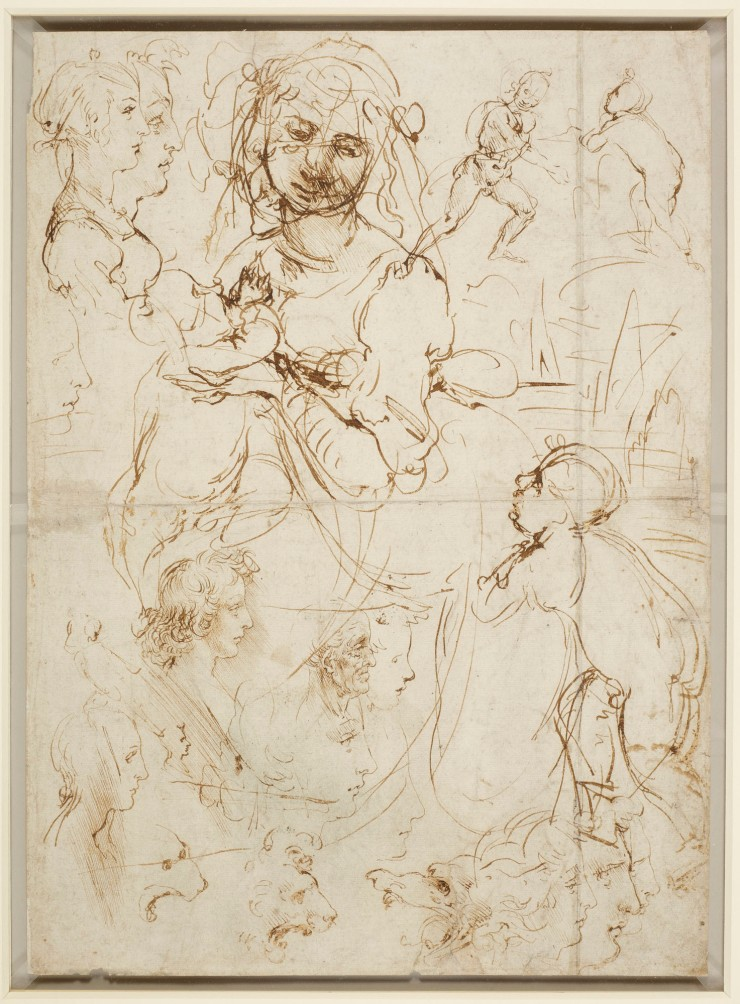 The Madonna and Child with the infant Baptist, and heads in profile c.1478 Pen and ink | 40.5 x 29.0 cm