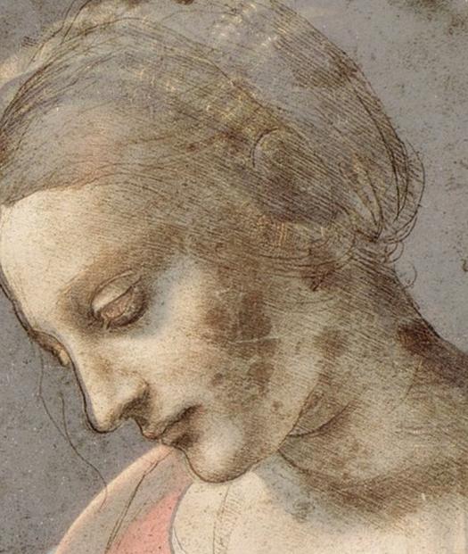 Leonardo - Sovrapposizione testa Madonna Litta-Testa di giovane donna