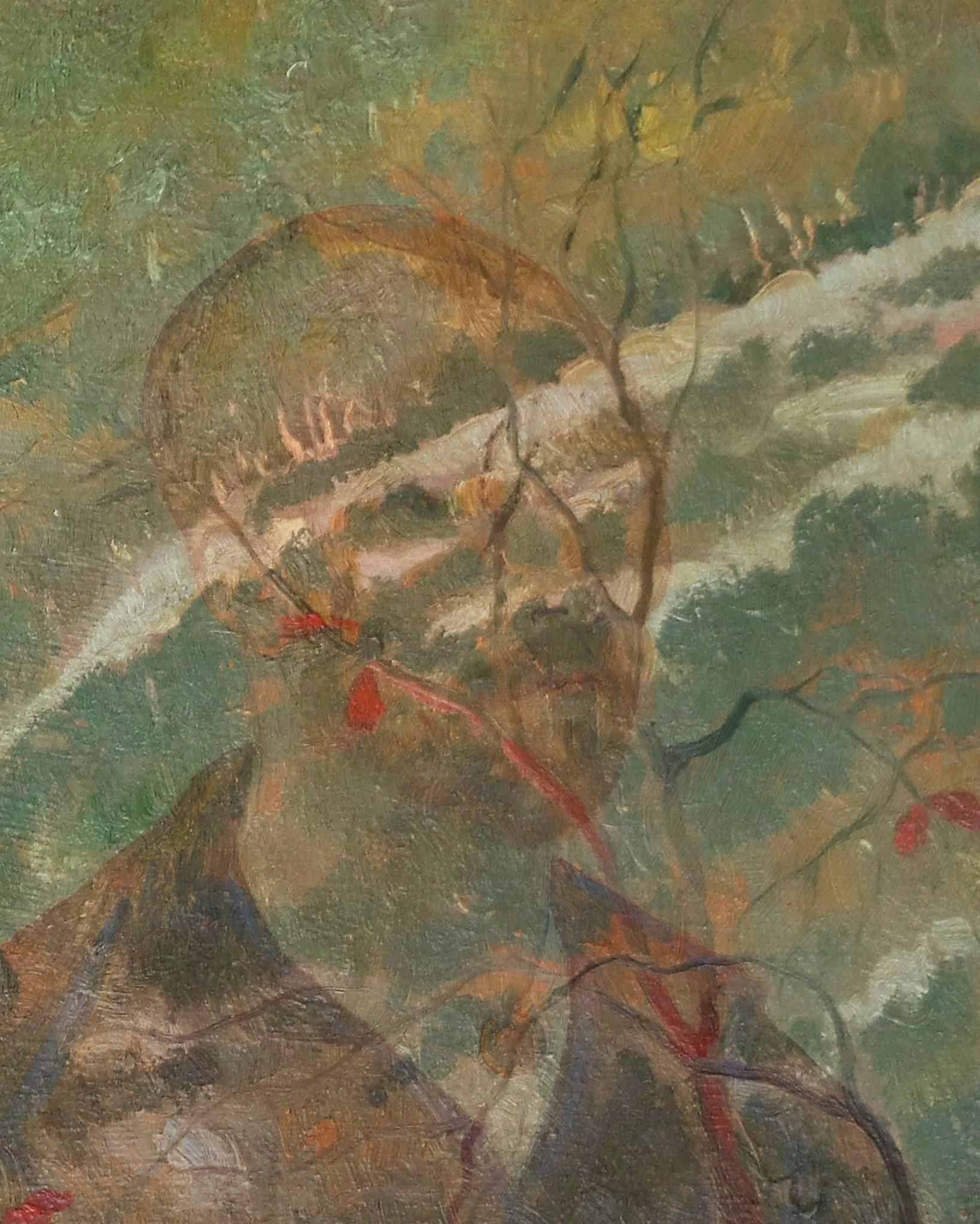 Detail, Van Gogh, overlap, Landscape Provence - Van Gogh, Self-portrait