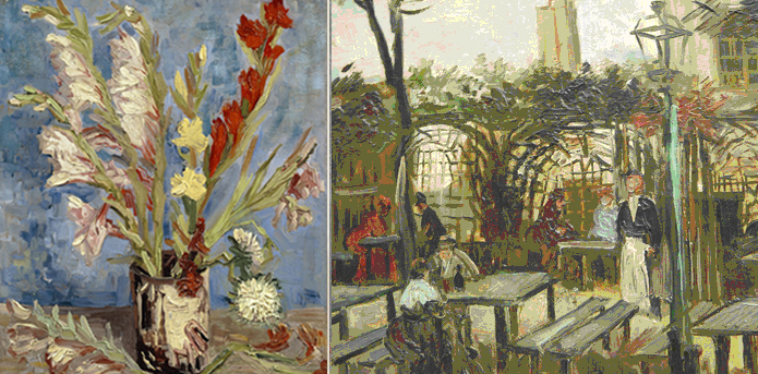 Detail, Van Gogh, painting with Gladioli, Van Gogh Museum - Terrace of a Caf in Montmartre, Musée d'Orsay - 1886