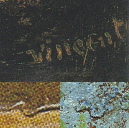 Detail, Van Gogh, firma - rilievo, pittura, lettera V, Vincent