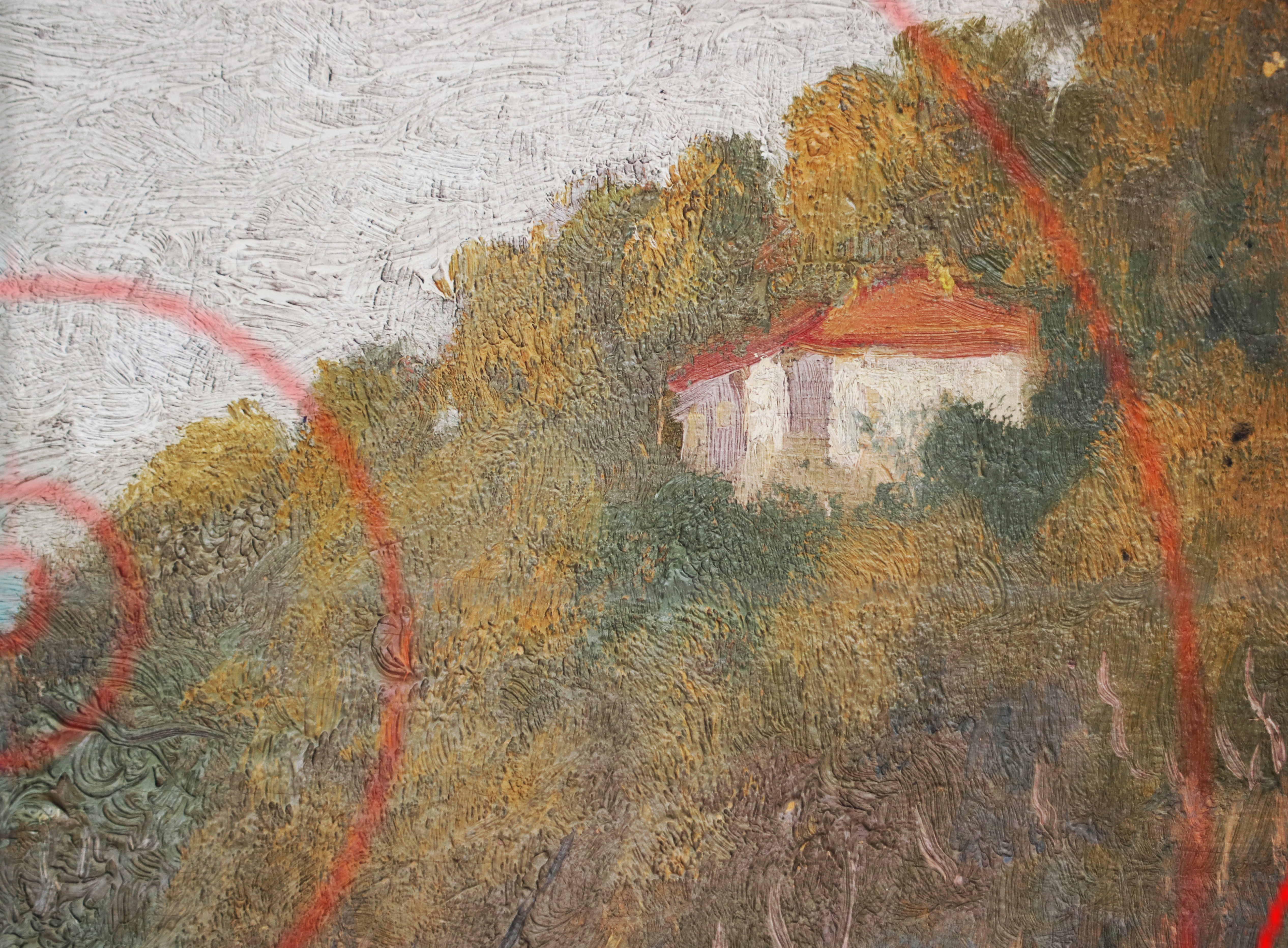 Detail Van Gogh, golden section, sunset, Landscape Provence - Detail,Van Gogh, house