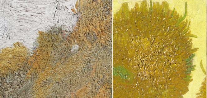 Detail, Van Gogh, hill, Landscpae Provence - Sunflowers - 1888