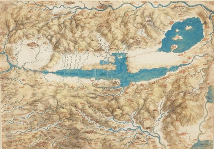 Da Vinci Paesaggio del Valdarno - Mappa della Valdichiana