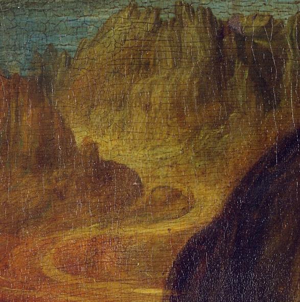 Leonardo da Vinci, dettaglio paesaggio a sinistra della Gioconda