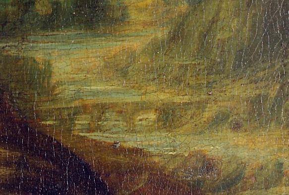 Leonardo da Vinci, dettaglio paesaggio a destra della Gioconda - Ponte del Diavolo